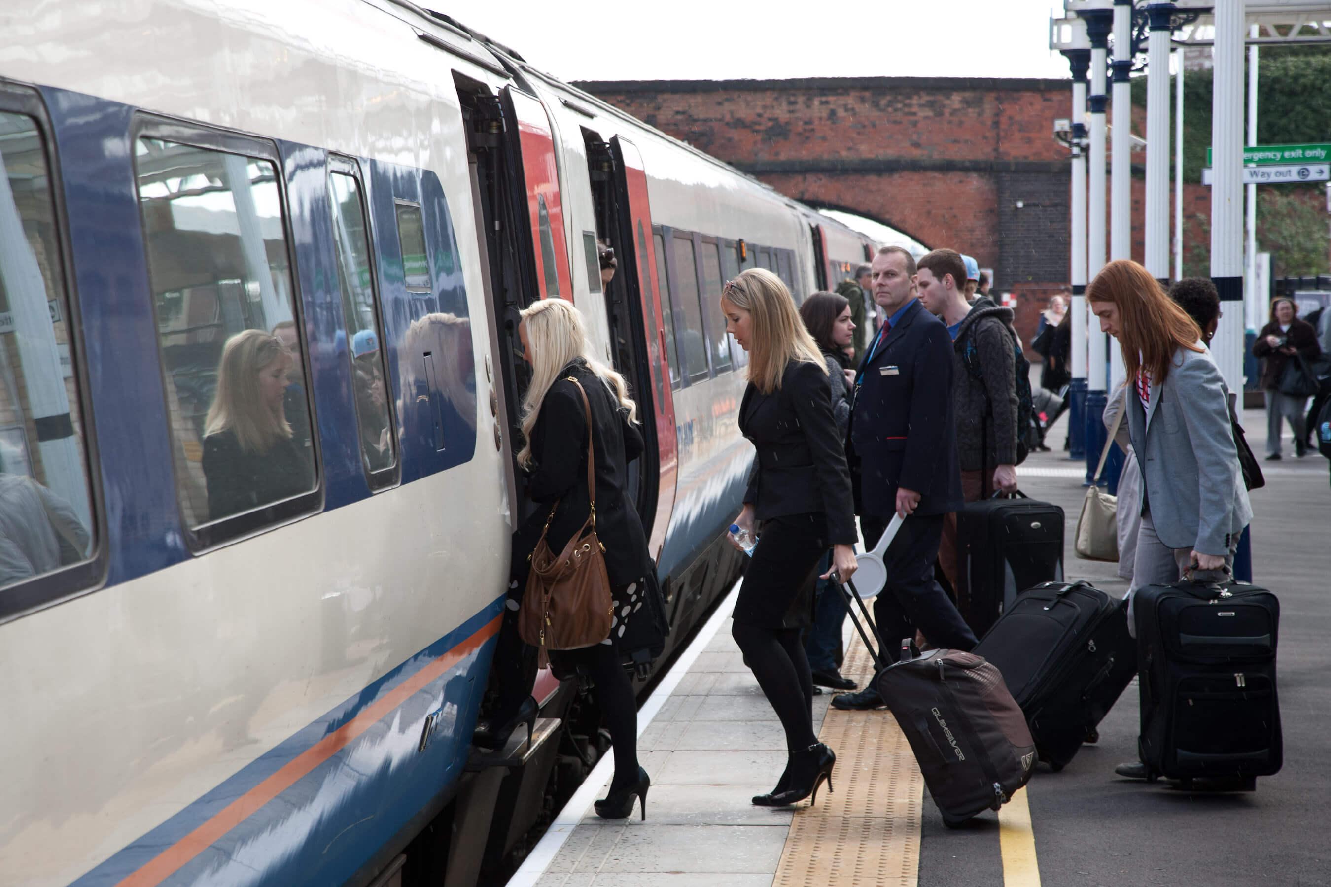 Train passengers on platfrom