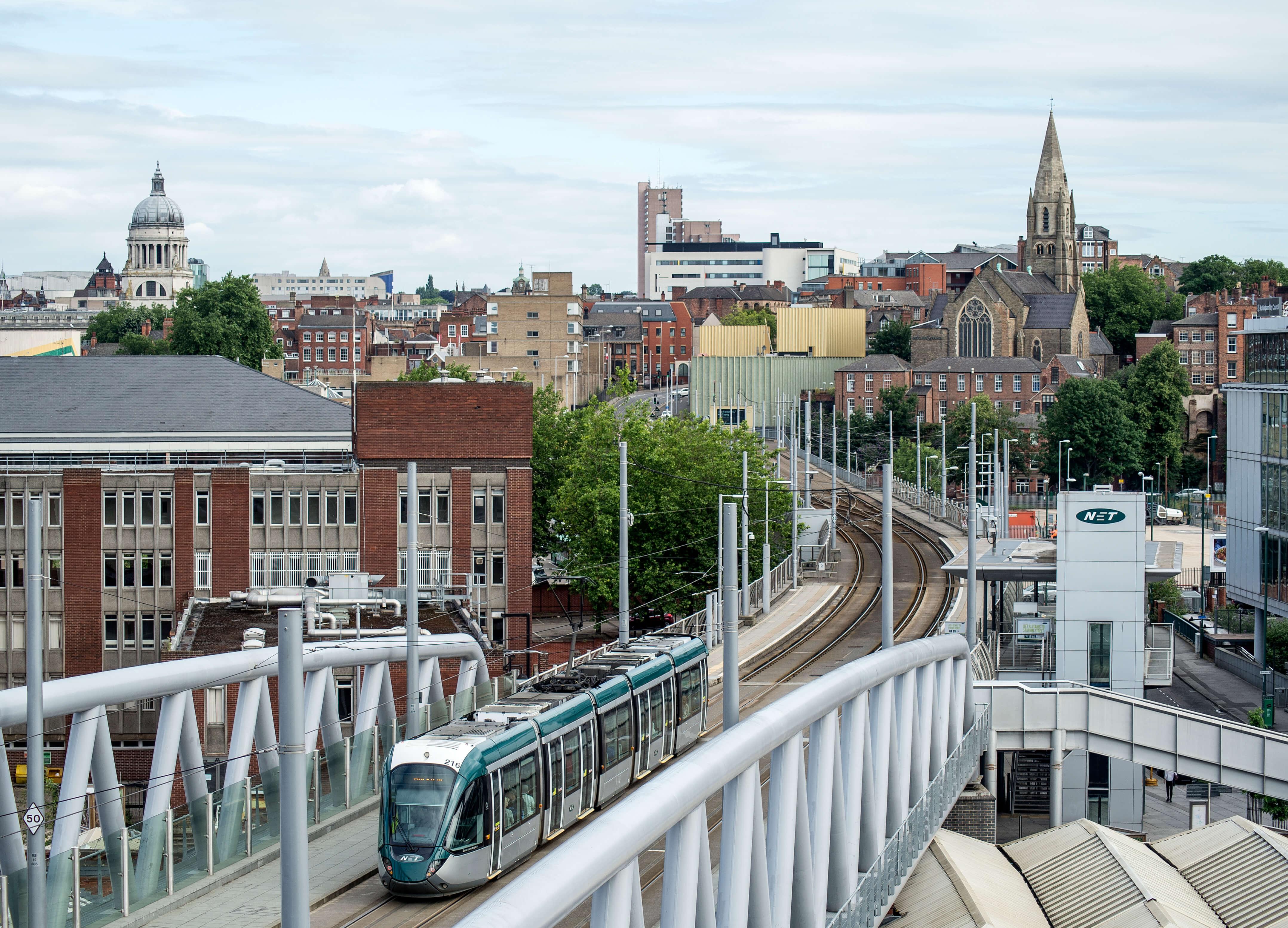 Nottingham skyline showing tram
