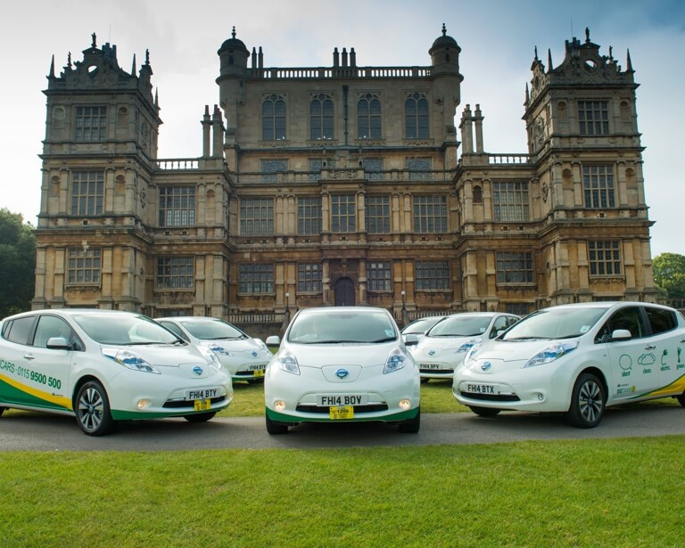 Electric cars outside Wollaton Hall