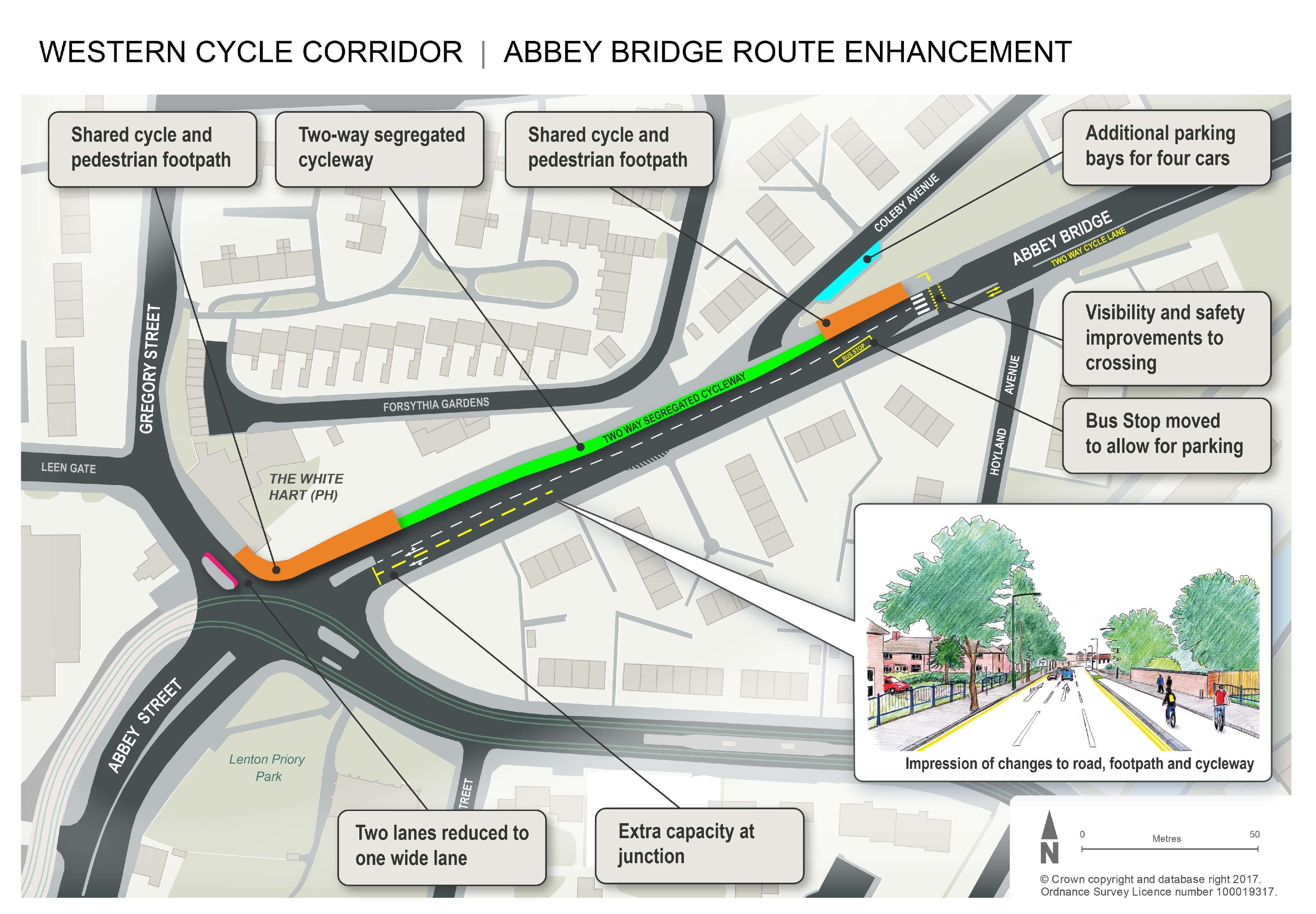 Map of Abbey Bridge works