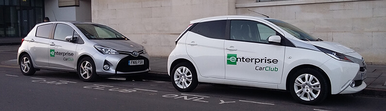 Enterprise car club cars parked