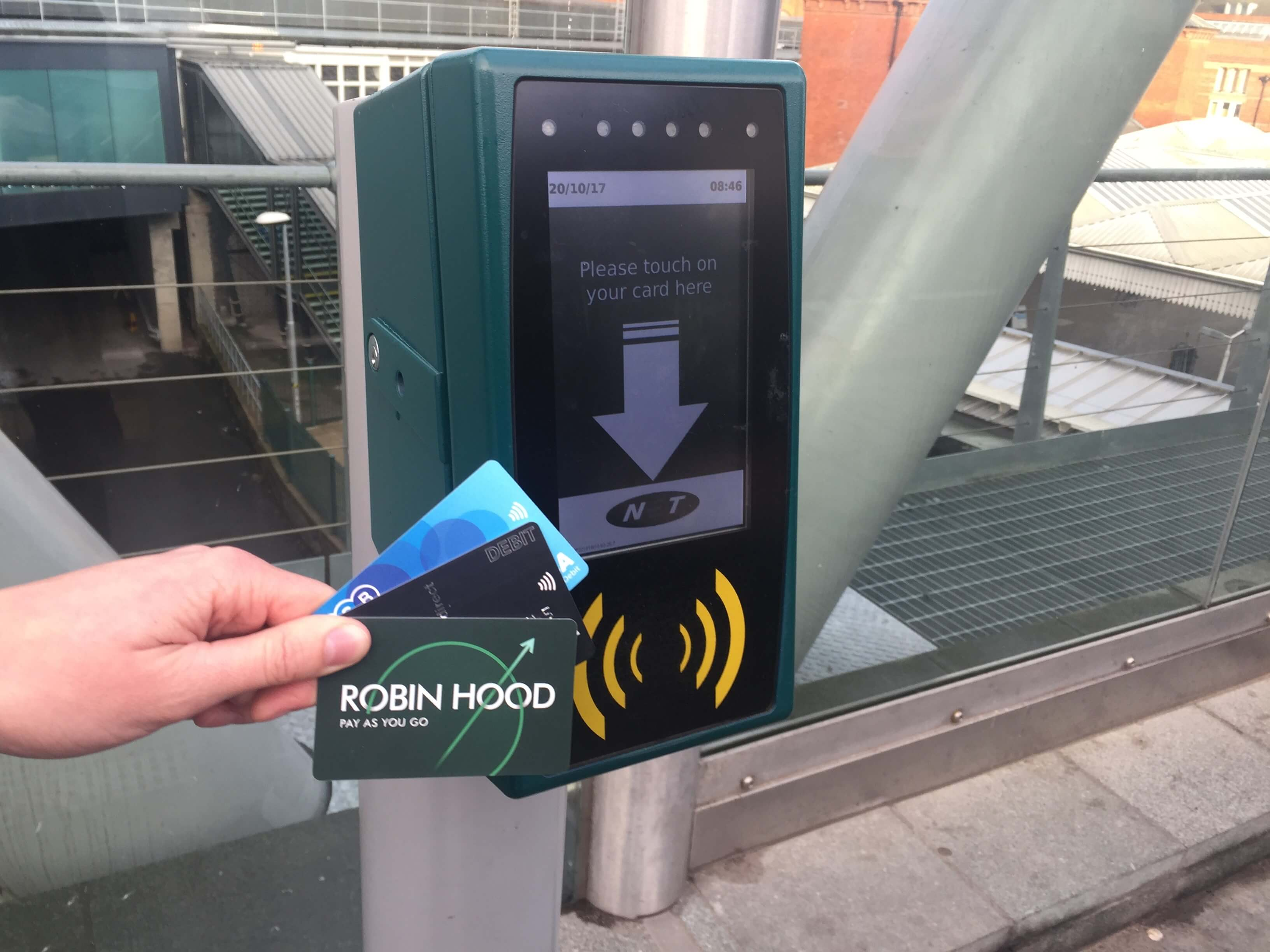 Contactless payment on tram