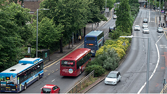Buses and cars on Maid Marian Way