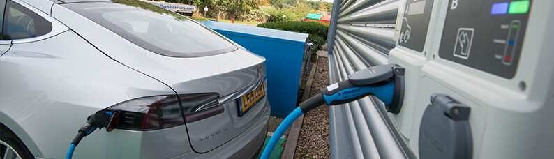 Electric car charging at workplace