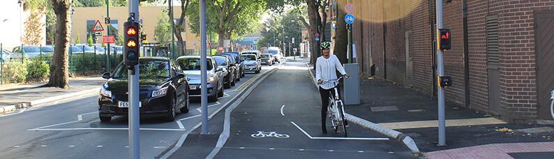 Cyclist on the western cycle corridor