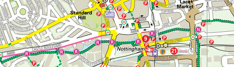 Map of Nottingham cycle routes
