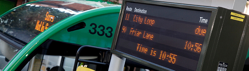 Realtime information sign at a bus stop