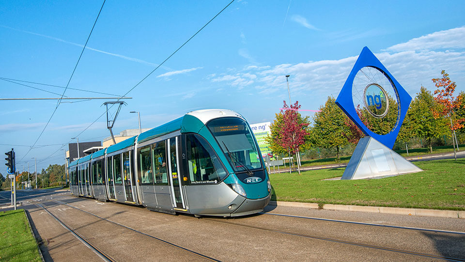 Tram travelling through NG2 business park