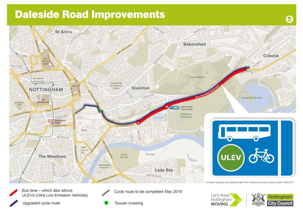 Daleside Road Colwick Loop Road ULEV bus lane map