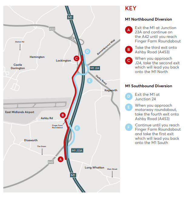 M1 weekend closure diversion route