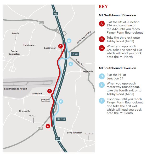 M1 weekend closure diversion route
