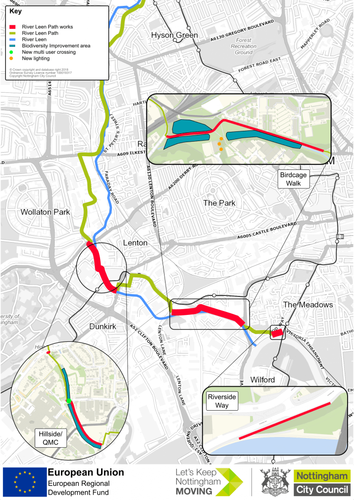 Map showing improvements to the River Leen cycle and footpath