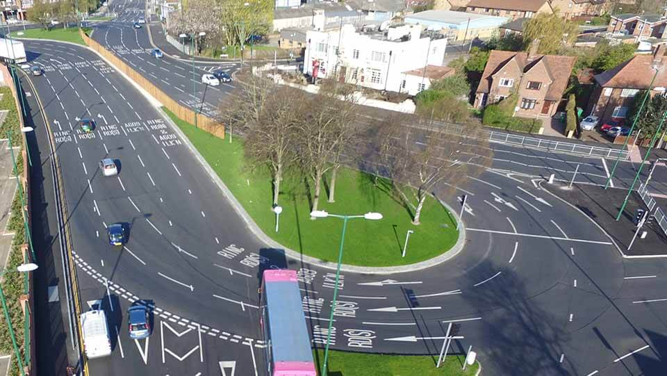 Crown Island roundabout - one of the busiest in Nottingham