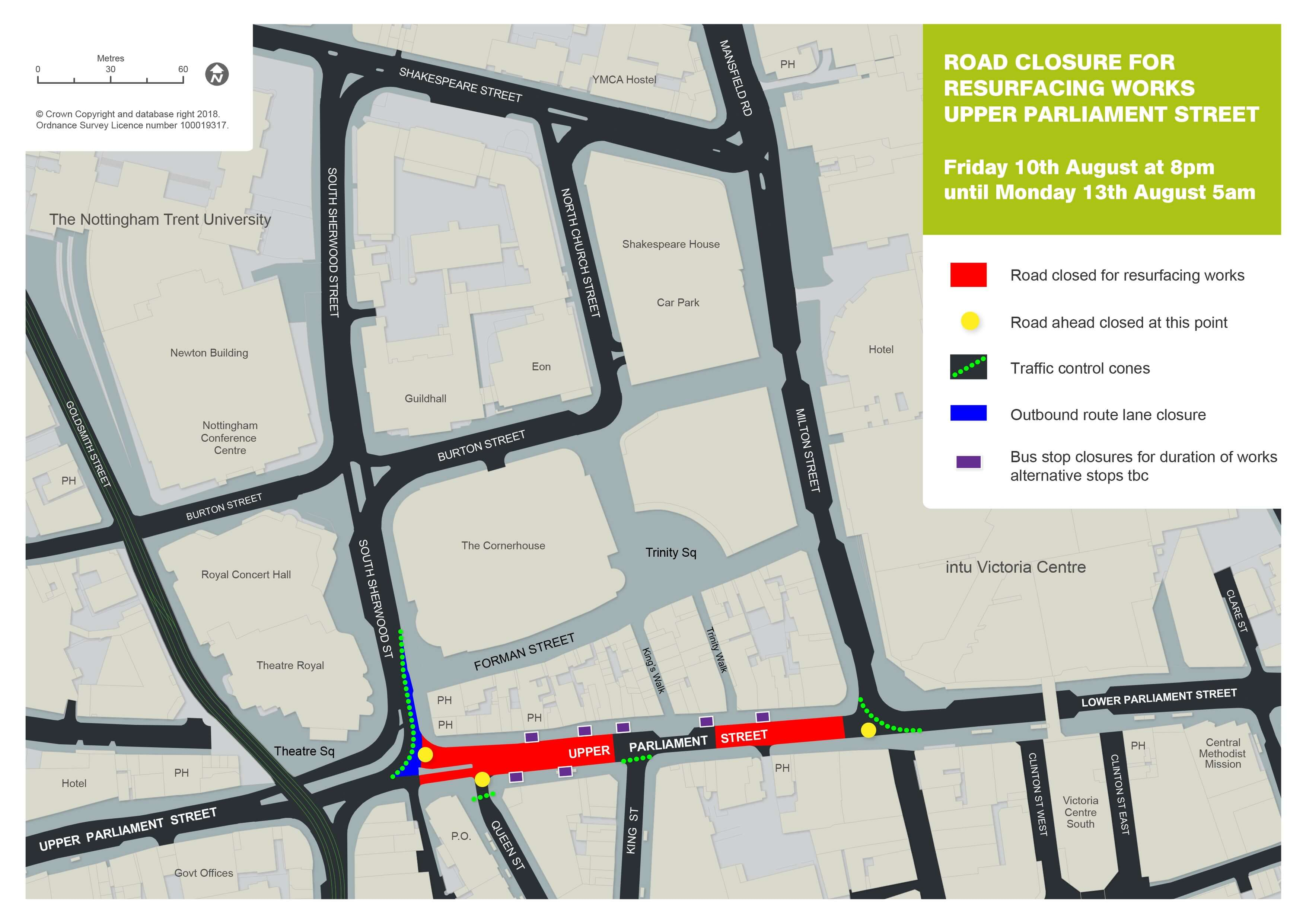 Parliament Street works map