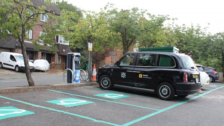 Electric taxi charging at Spondon Street