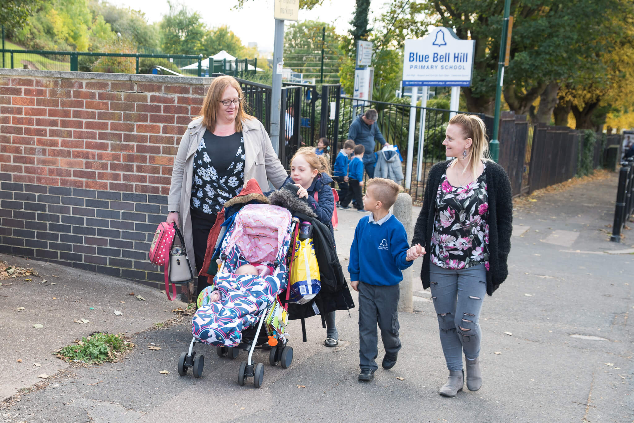 Parents Kirsty Spencer and Rebecca Rowson and pupils Jacob Wright (6) and Alice Rowson (8) put their best feet forward