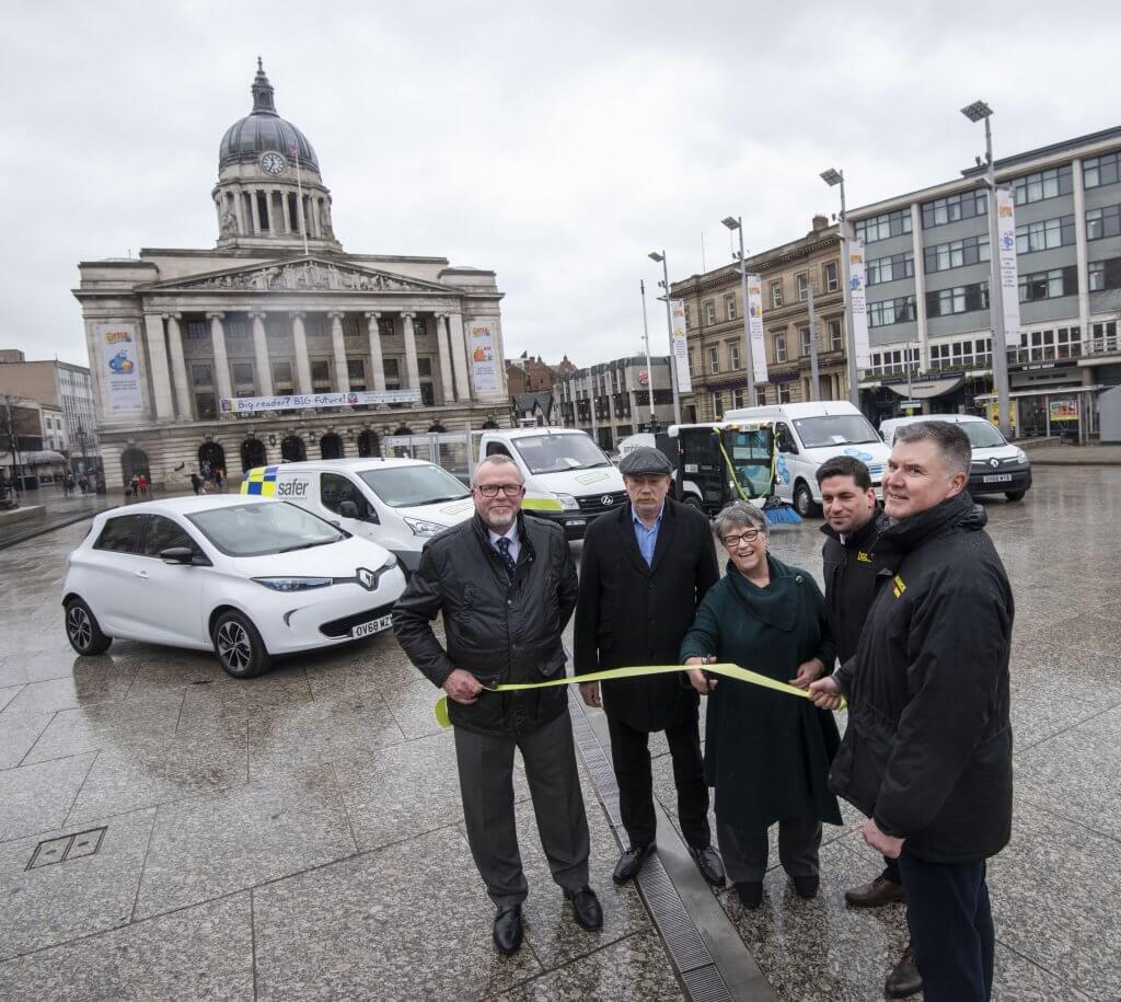 Cllr Sally Longford was joined by manufacturers LDV and Bunce to mark the expansion of the council's electric fleet
