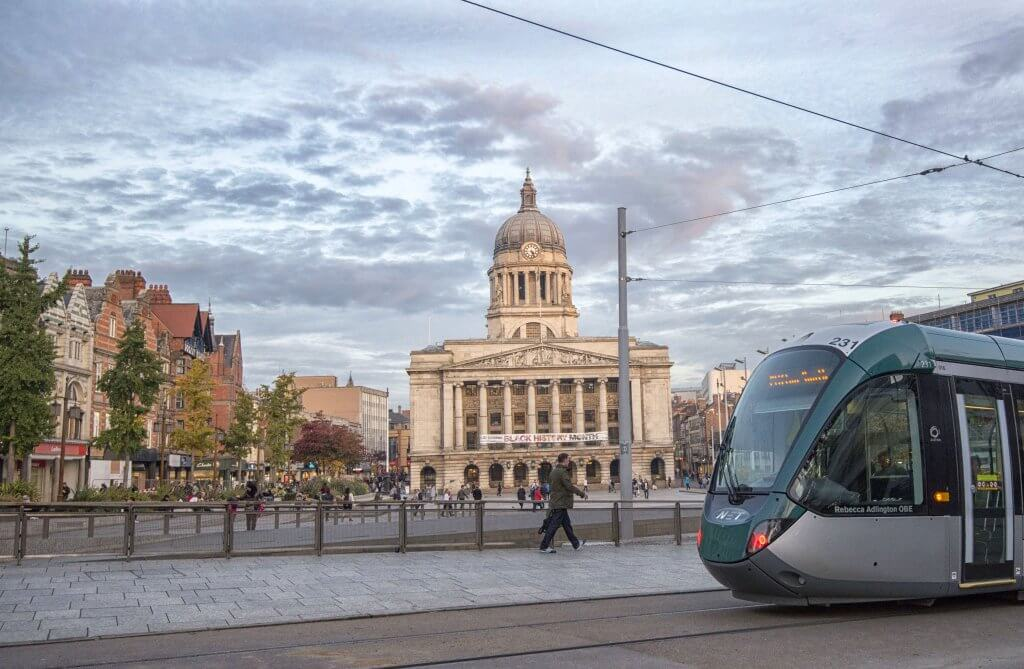 Tram in old market square nottingham