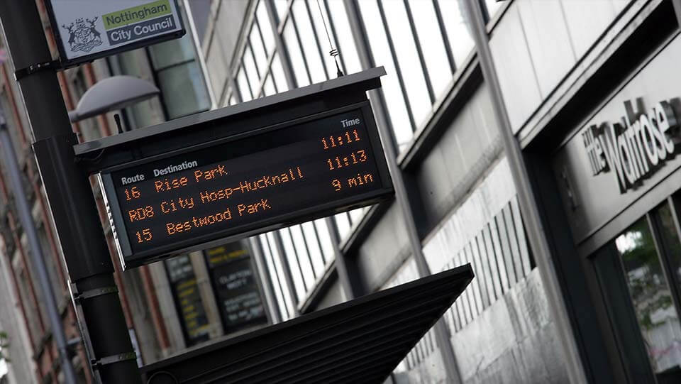Nottingham Real Time bus sign