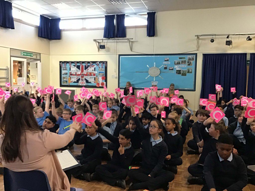 Pupils from Hogarth School taking part in the road safety quiz