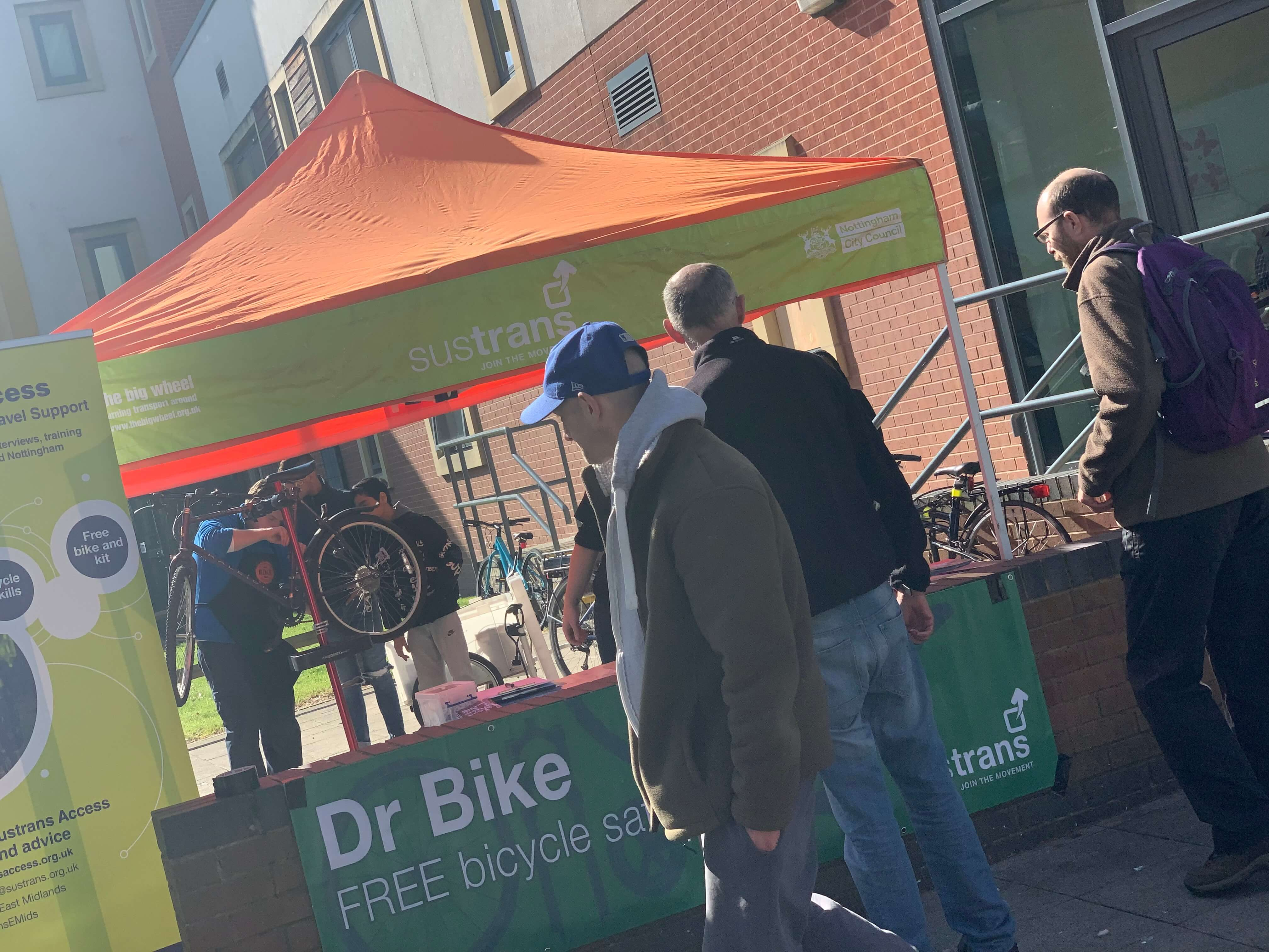 Members of the public attending a Dr.Bike event held at The Mary Potter Health Centre