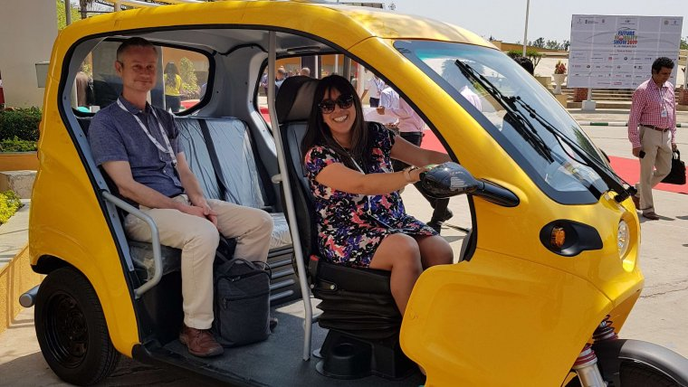 Rasita Chudasama testing an electric rickshaw in India