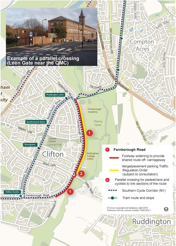 Southern Cycle Corridor map Farnborough Road Clifton Nottingham