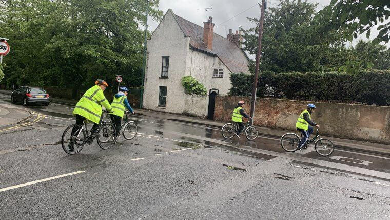 Professional drivers developing on-road cycle skills