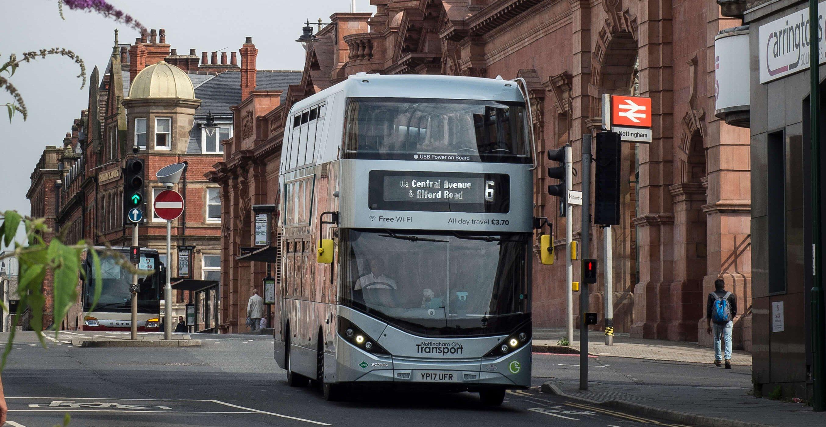 Biogas bus at Nottingham Station