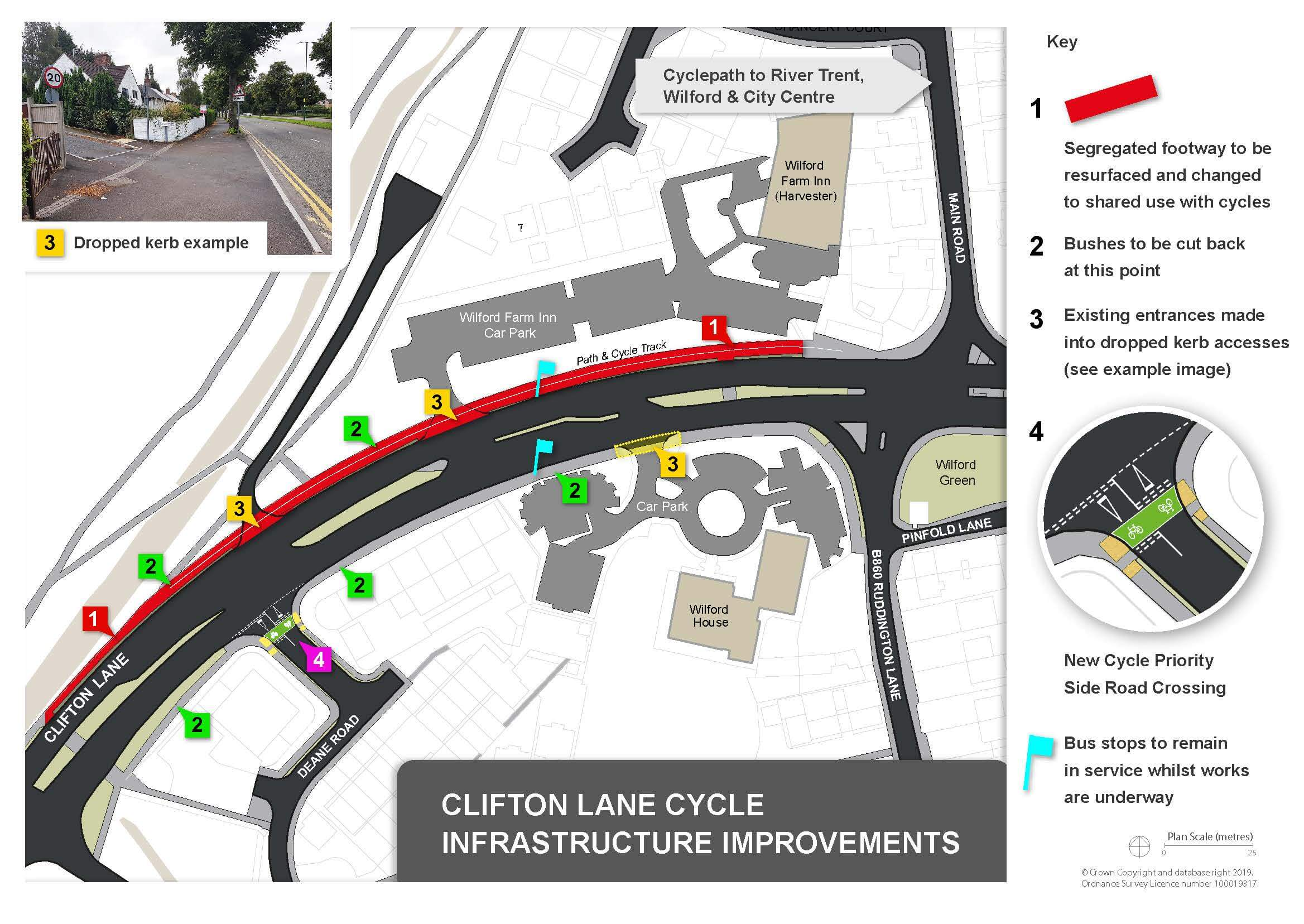 Map showing Clifton Lane cycle improvements
