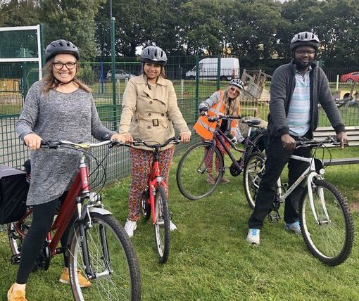 Cllr Williams attending a community cycle centre event