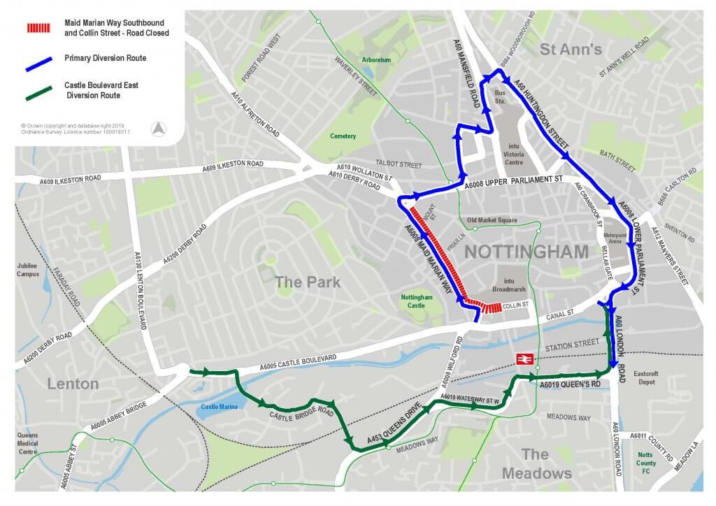 Collin St road closure diversion route map