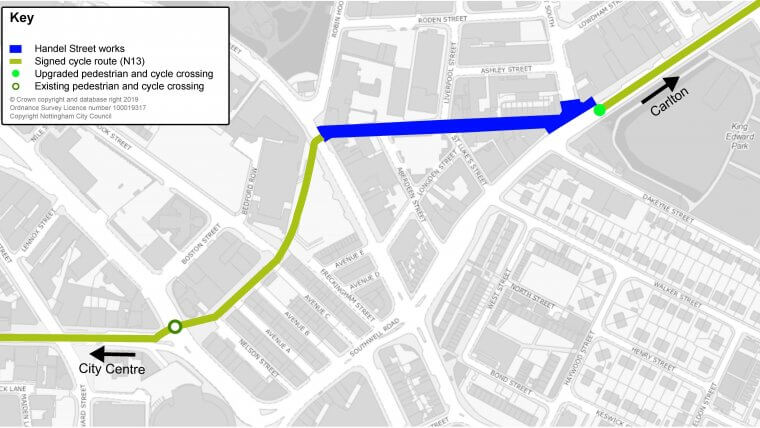 map showing Handel Street cycle path construction