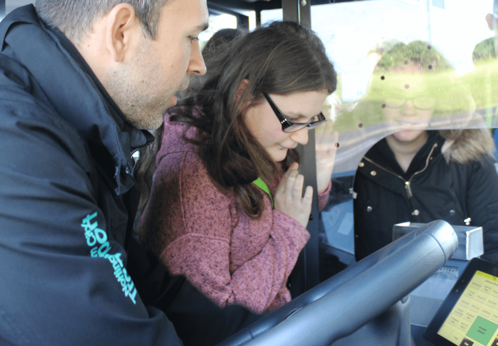 A student from Nottingham College Basford learning how to issue their own bus ticket