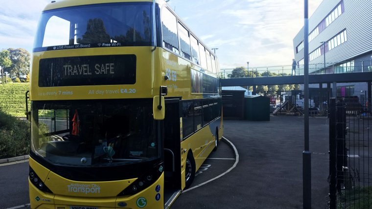 Yellow biogas bus at Nottingham College in Basford for try a bus day