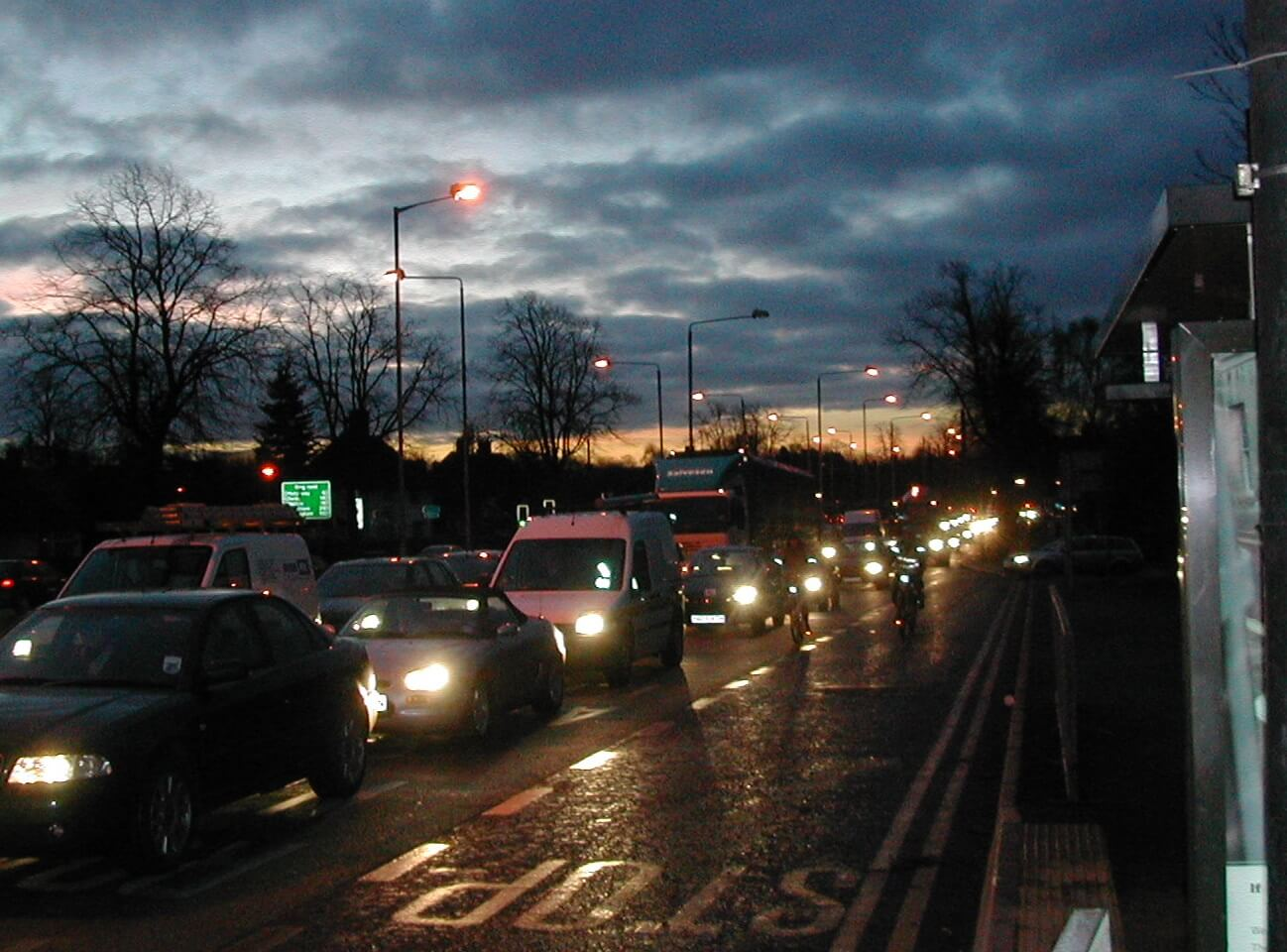 Cars stuck in traffic on a winter evening in Nottingham