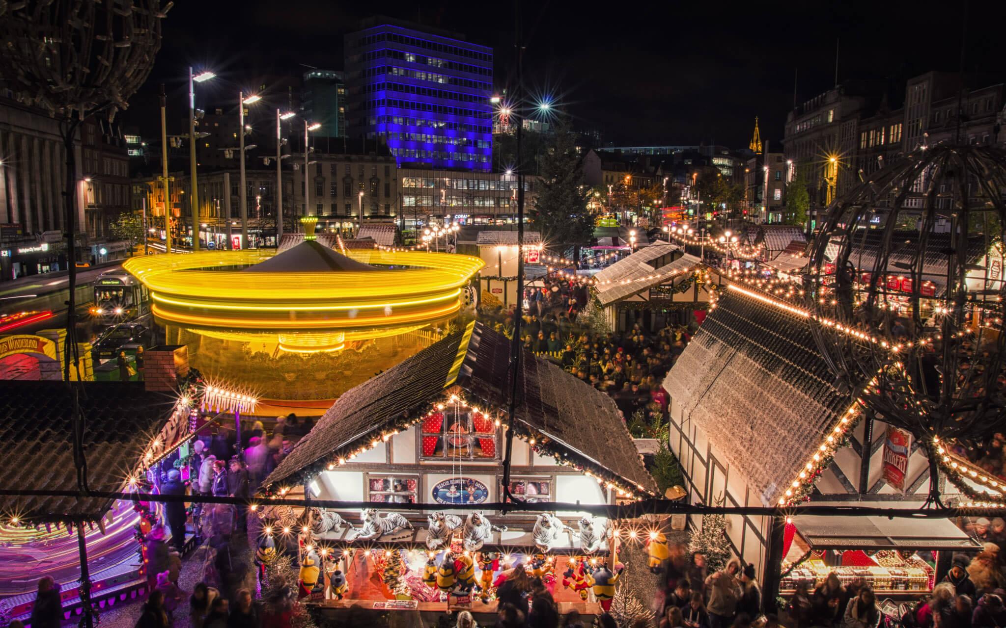 Nottingham Christmas market at night
