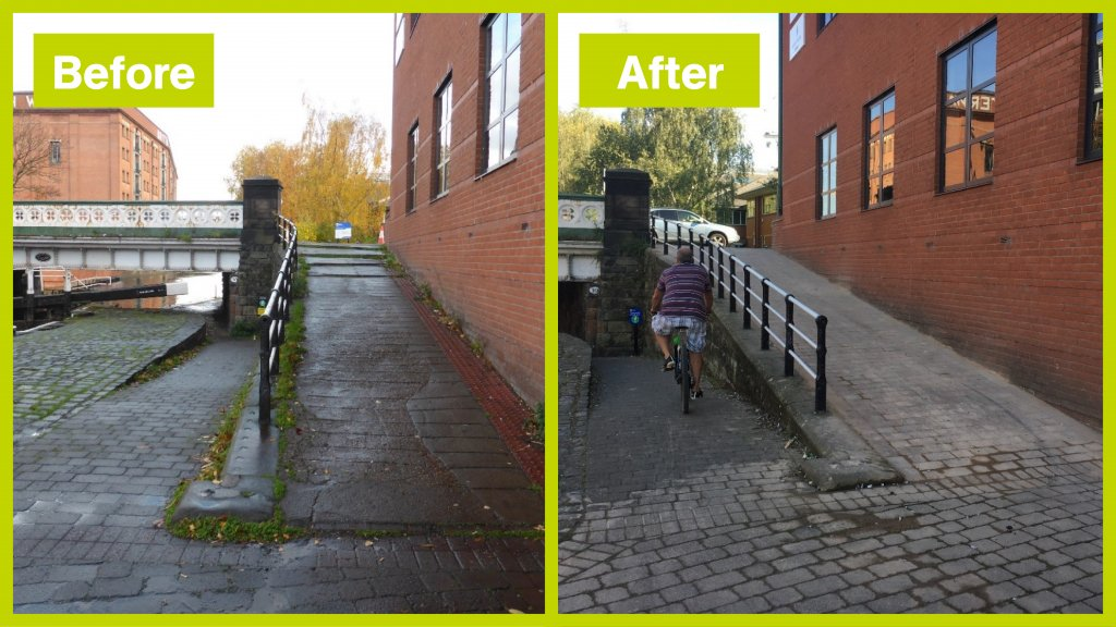 Cycle improvements before and after along the canal