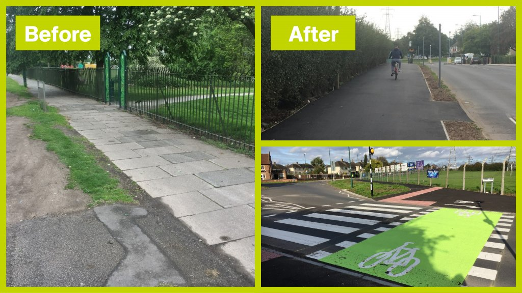 Cycle improvements before and after along Farnborough Road
