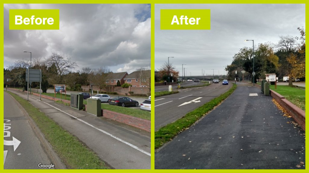 Cycle improvements before and after along Clifton Lane
