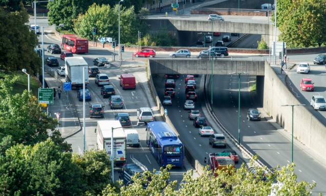 Queuing traffic on a busy road in Nottingham