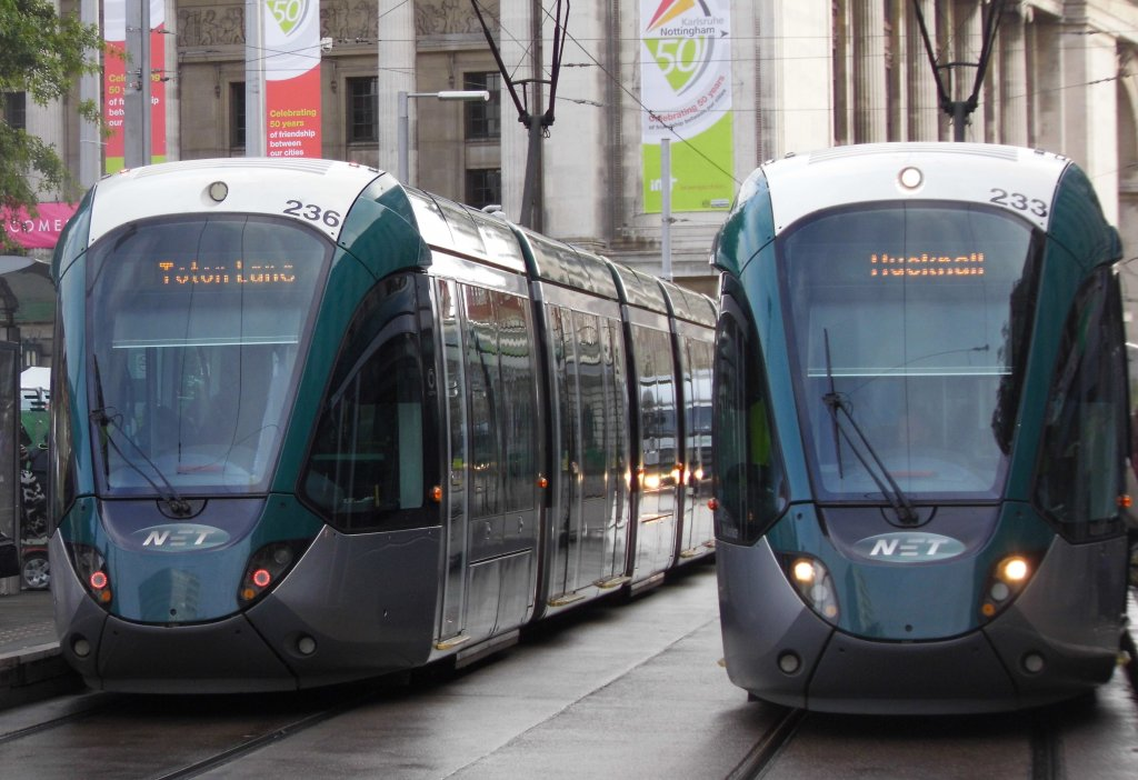 Two trams at Old Market Square tram stop