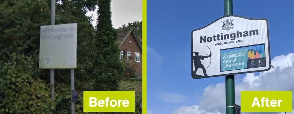 Image showing the old and new 'welcome to Nottingham' road signs