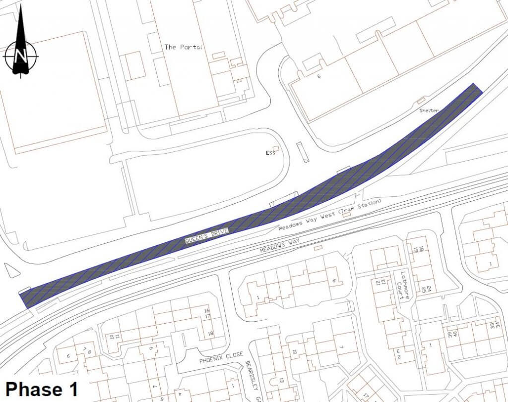 Map showing area of Queens Drive to be resurfaced in phase one