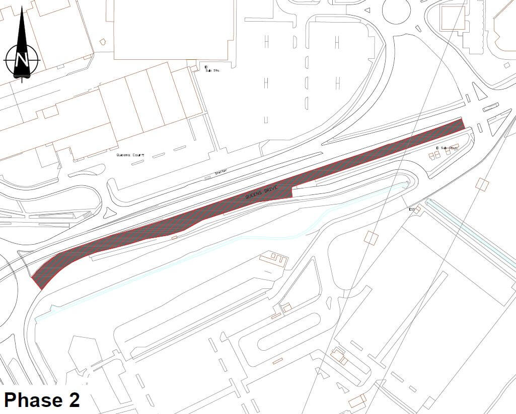 Map showing area of Queens Drive to be resurfaced in phase two