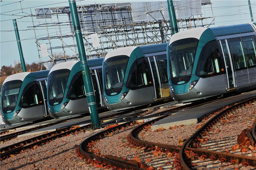 trams lined up on tracks