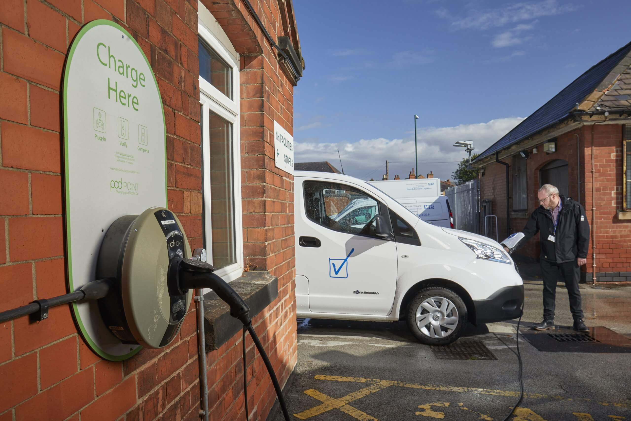 Man charging EV with WTS charge point