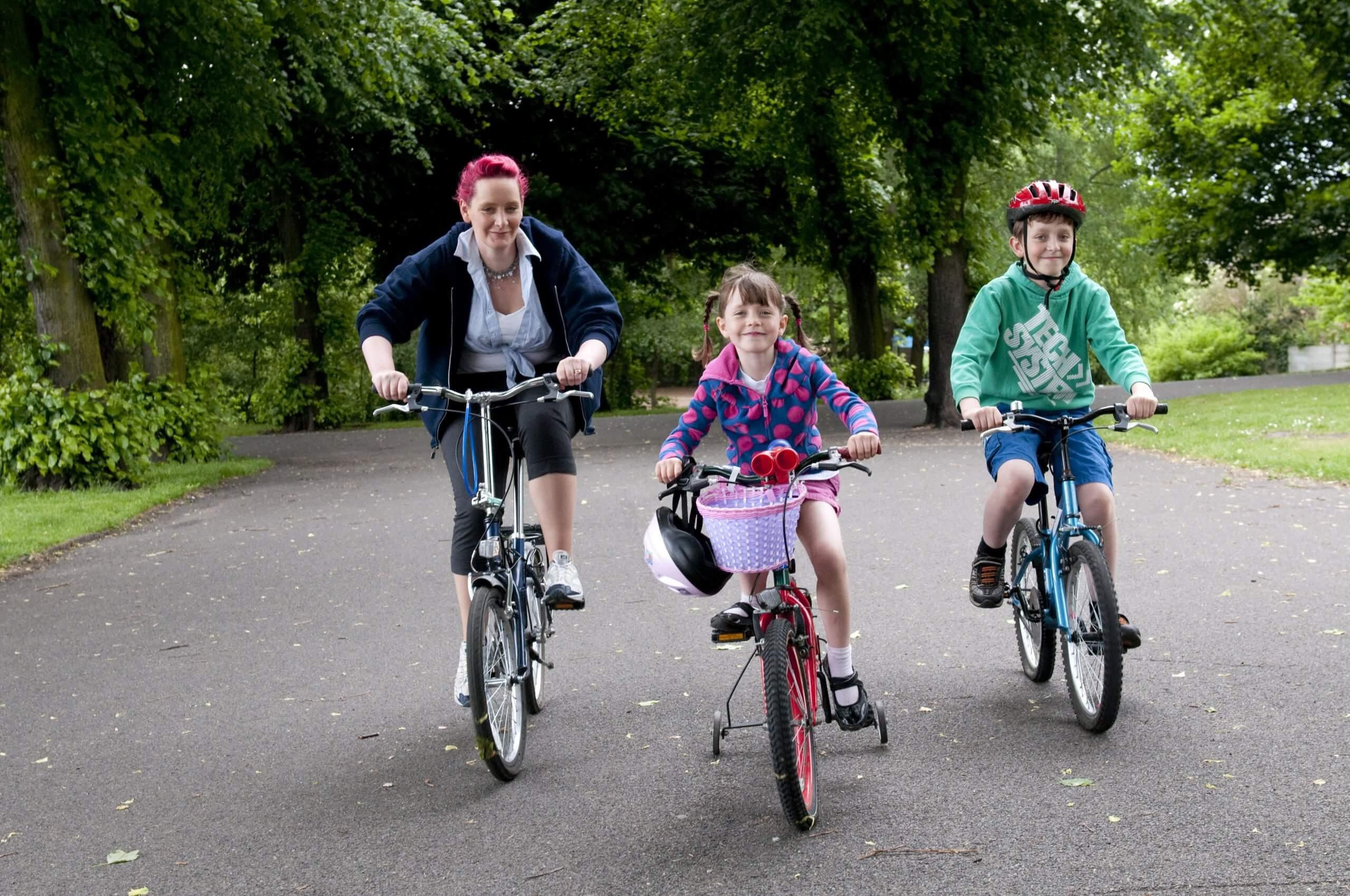 family on their bikes
