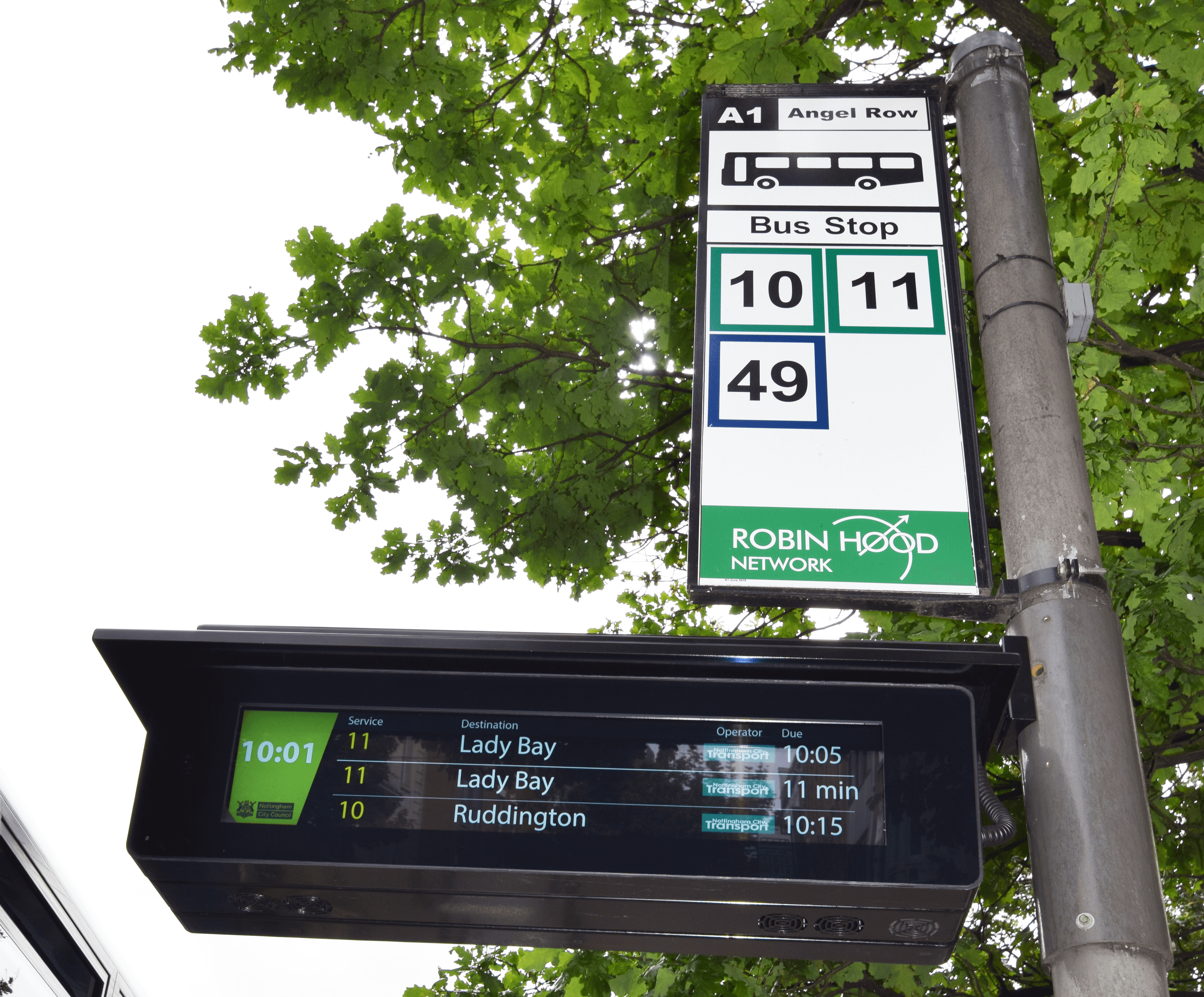 A1 bus stop and new real time sign on Angel Row, Nottingham