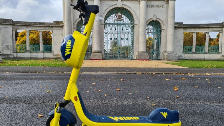 e-scooter outside memorial gardens